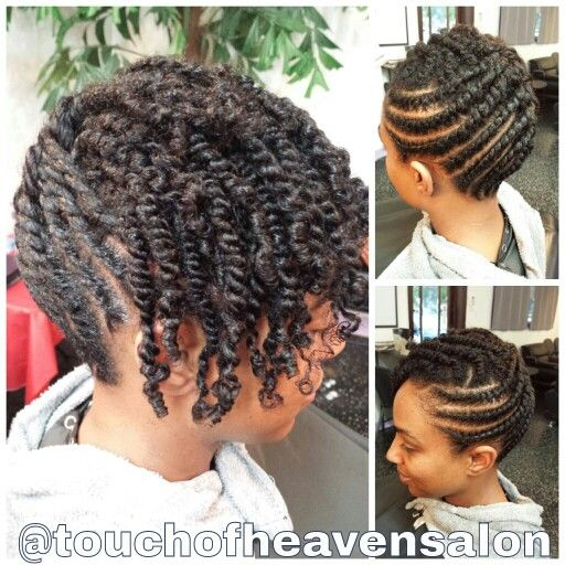 Natural hair updo. Two strand twists www.touchofheavensalon.com