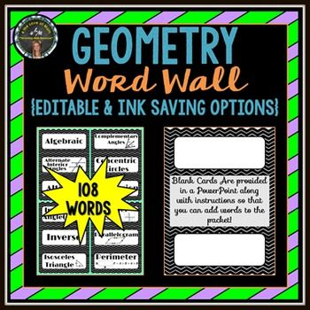 Even high school teachers should consider using a word wall! Geometry Word Wall Strips: (108 Cards in All!)