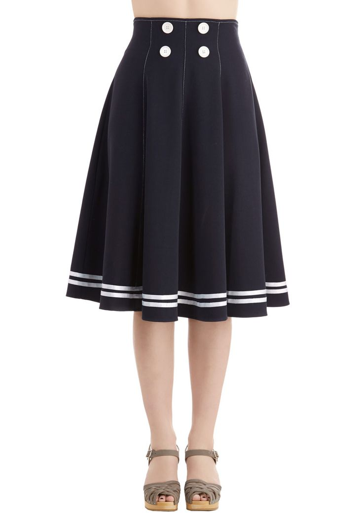You Ain't Seen Nothing Yacht Skirt. Astound your friends with your chic, nautical style by sporting this navy-blue midi skirt. #blue #modcloth