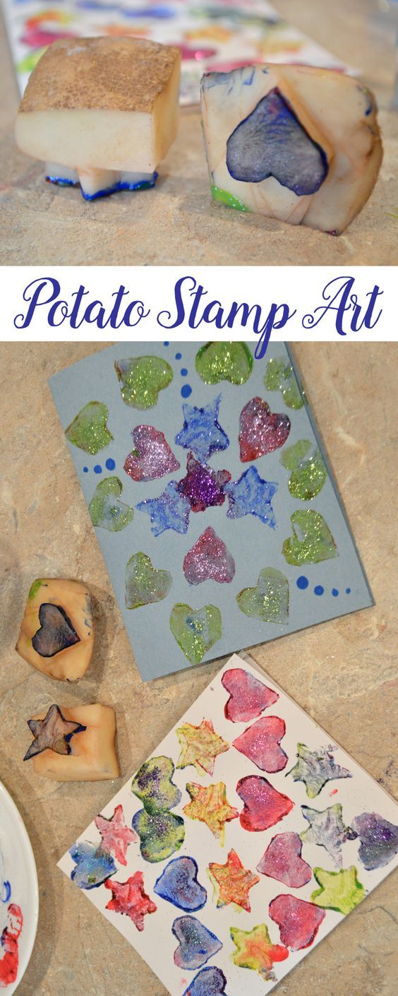 Easily make art and cards with DIY potato stamps! Click to learn more! Super cute Valentine's Day idea.