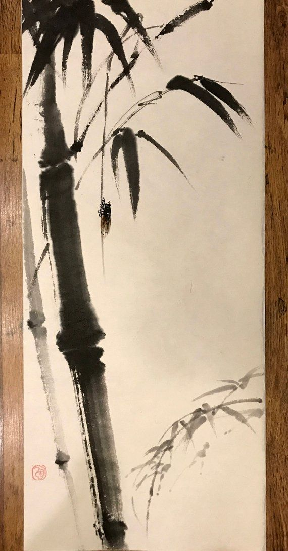 Chinese Ink Painting Bamboo And Insect Bamboo Watercolor