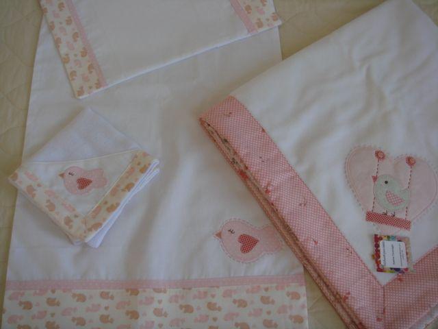 jogo lençol + fralda + manta