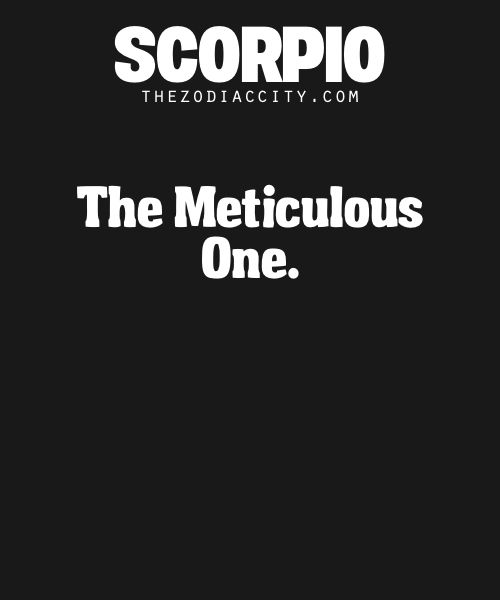 Scorpio: The Meticulous One.