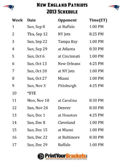 Printable New England Patriots Schedule - 2013 Football Season