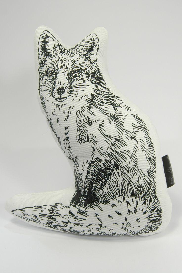 Handmade screen print vixen plushie
