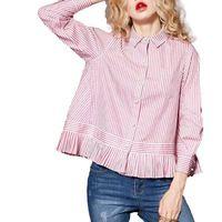 Женщины сладкий полосатый свободные рубашки полный хлопка с длинным рукавом turn down воротник блузки плиссированные повседневная одежда офис топы blusas LT1165