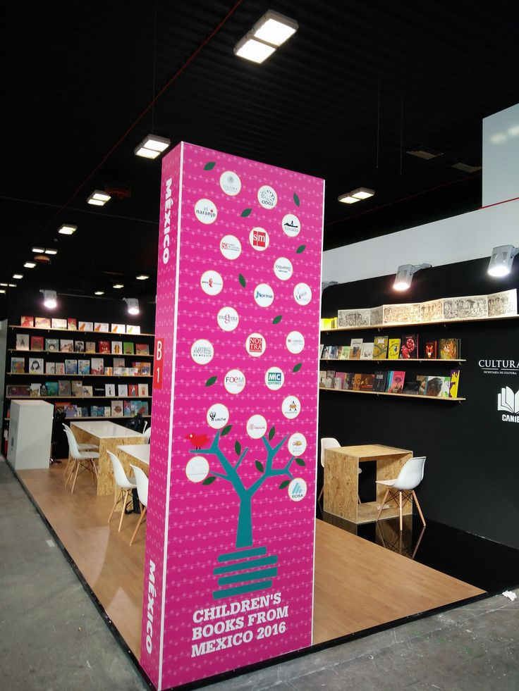 The stand of the Secretary of Culture of Mexico at the Children's Book Fair in Bologna. Giving the books pride of place.