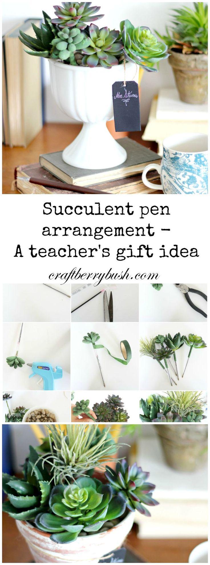 Succulent Pen Arrangement - teacher's gift idea by MichaelsMakers Craftberrybush