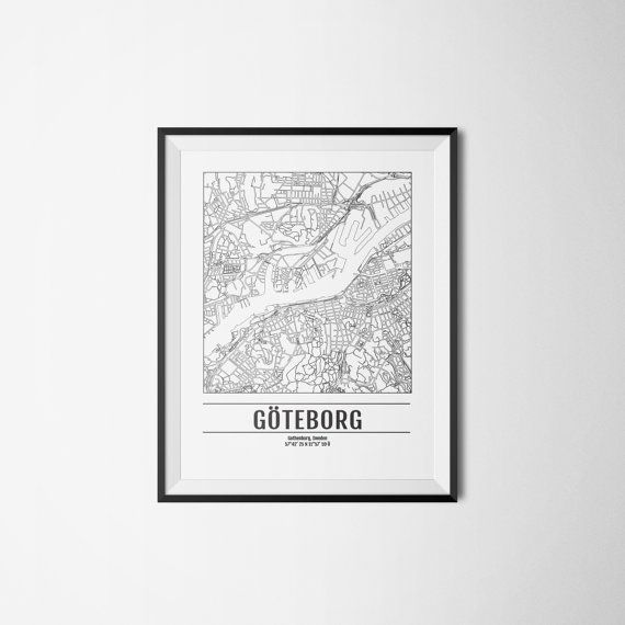 Gothenburg city map Sweden Göteborg Art print A3 by Itchyprints