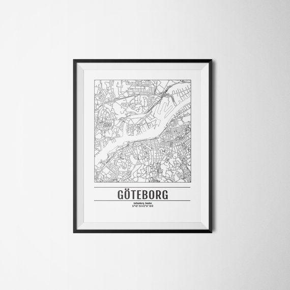 Gothenburg city map Sweden Göteborg Art print A3 by Itchyprints