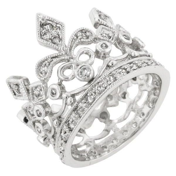 Jayne 0.6ct CZ White Gold Rhodium Crown Eternity Ring ($35) ❤ liked on Polyvore featuring jewelry, rings, cz jewellery, rhodium jewelry, eternity rings, cz rings and eternity band ring