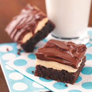 Fudgy Brownies with Peanut Butter Pudding Frosting Recipe from Taste of Home -- shared by Amy Crook of Syracuse, Utah