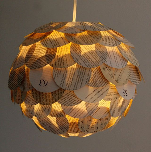 http://www.thebohmerian.com/2012/01/creative-lamps-made-from-recycled-paper-and-soda-can-tabs-by-nyc-based-lighting-designer-allison-patrick/    Artichoke Pendant : By Allison Patrick