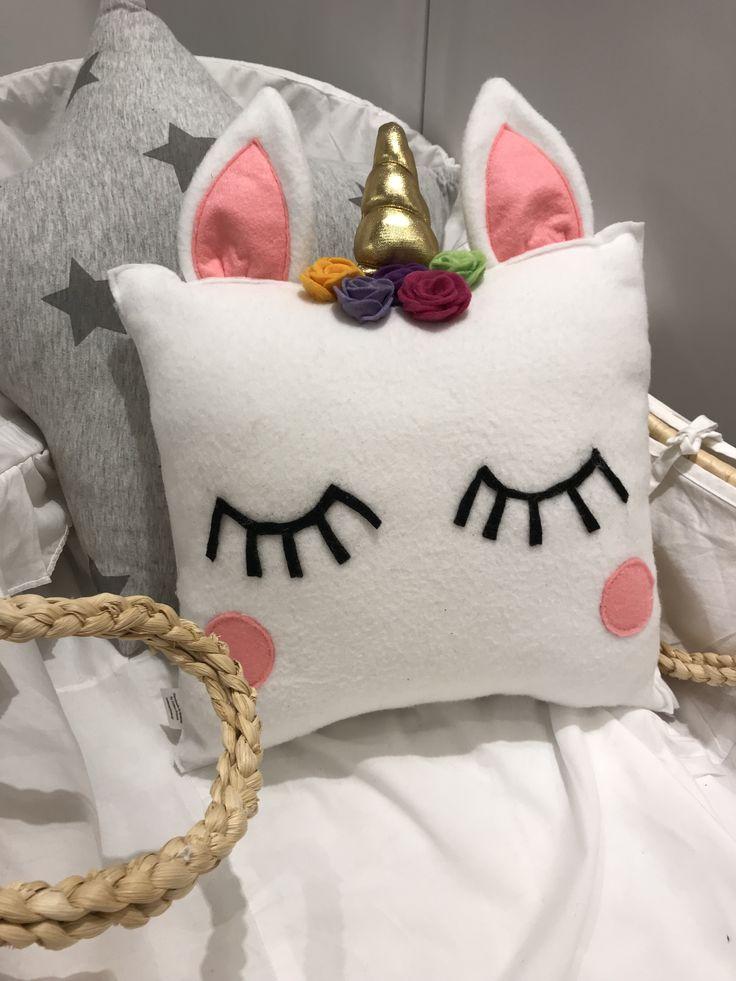 Unicorn pillow for girl's nursery handmade by cottonprince.gr