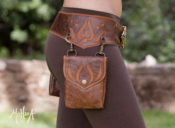 Mohana Leather Pocket Belt Bag - Marbled Brown and Tan Leather renaissance belt / bag