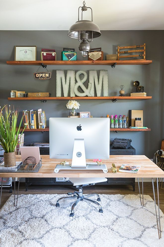 How To Build Industrial Wood Shelves Home Office Decor Home