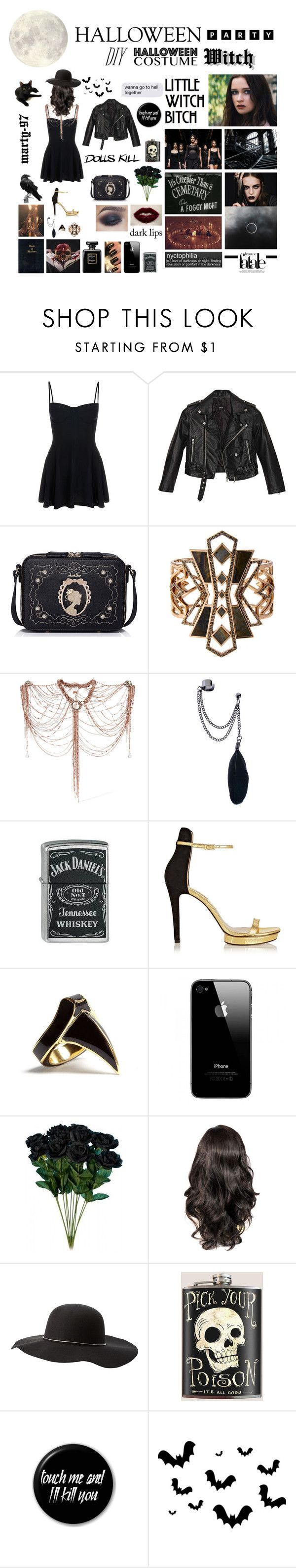 Halloween Party: Witch!! by marty-97 on Polyvore featuring moda, Nasty Gal, Norma Kamali, Michael Kors, WithChic, Erickson Beamon, Lulu Frost, DJ By Dominic Jones, Charlotte Russe and Zippo