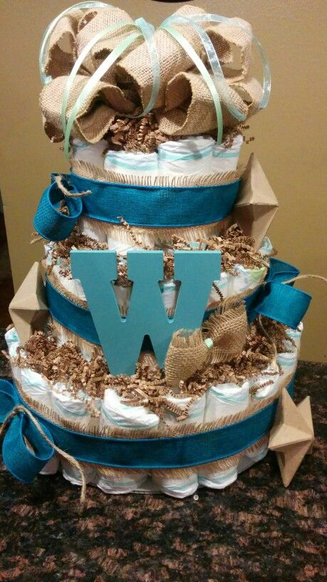 Boy Diaper Cake  western country teal letter stars burlap shabby chic  Diaper Cakes