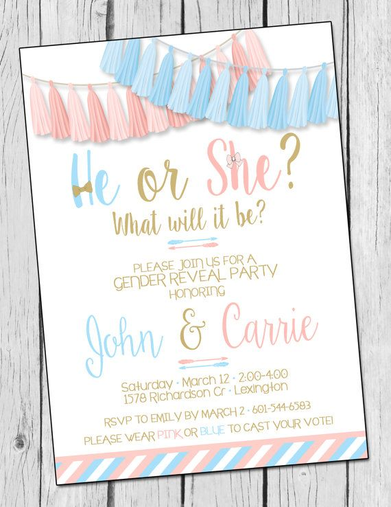 Gender Reveal Invitation He or She Gender Reveal Invite by DaxyLuu