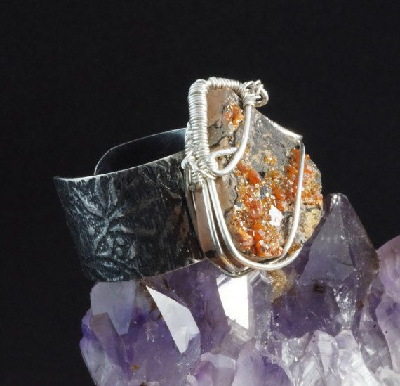 Sterling Silver ring with Vanadanite / wire wrapped /