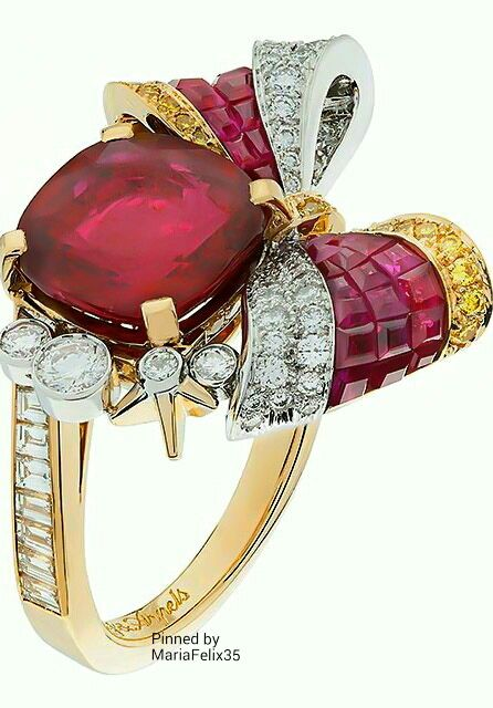 Van Cleef & Arpels ~ Rubies, Diamonds + Canary Yellow Dimond Ring set in Gold