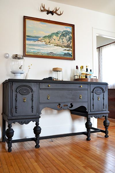 Antique Buffet Refinished In Annie Sloan Graphite Chalk