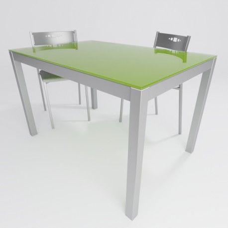 Mesa de cocina fija leo en cristal verde