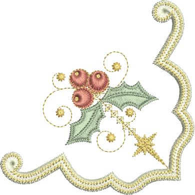 Sue Box Creations | Download Embroidery Designs | 27 - Holly Corner