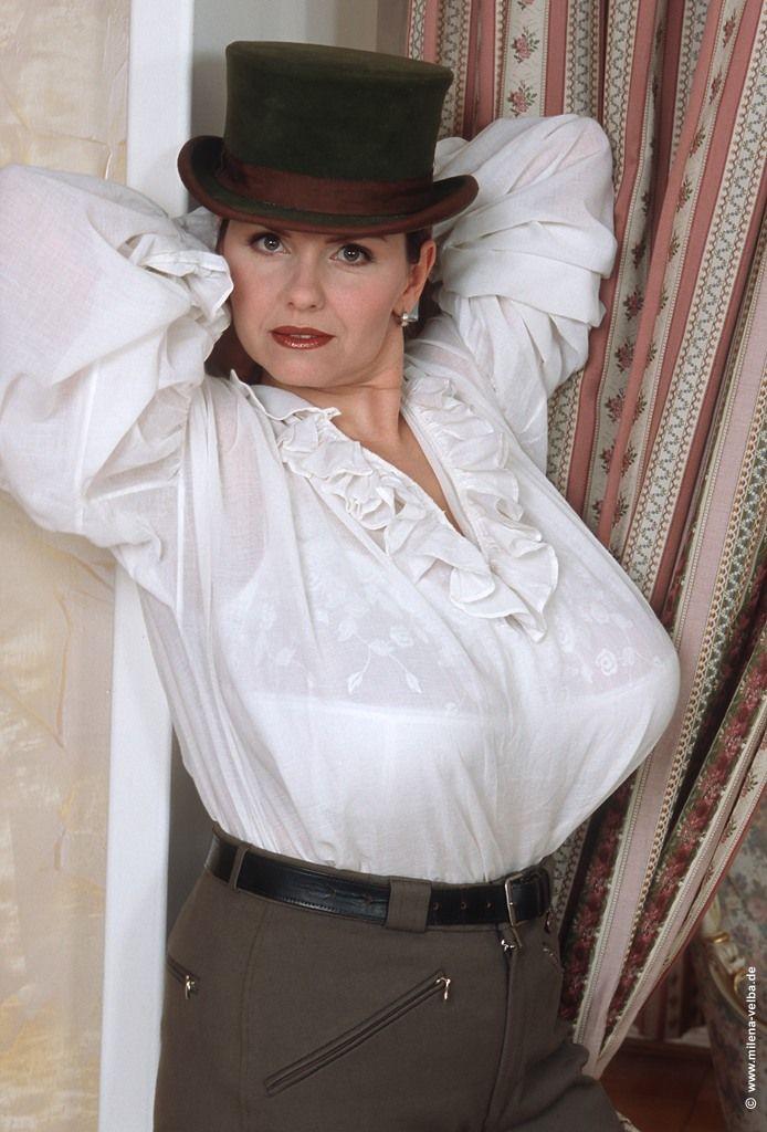 Milena Velba  Voluptuous Women, Ruffle Blouse, Women-4864