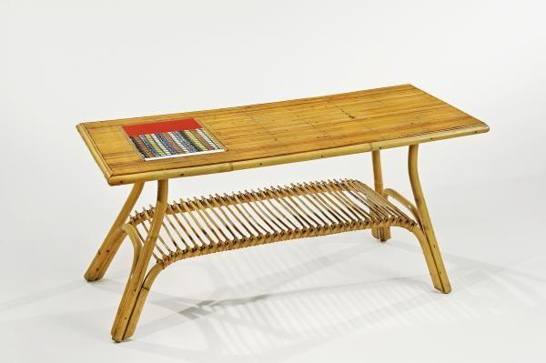 Roger CAPRON (19222006)  Table basse à structure en moëlle de rotin et plat -> Table Basse Capron