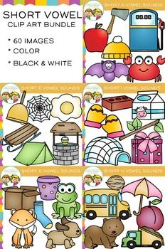 Short Vowel Clip ArtAll images come in 300dpi png and jpg formats, color and black & white. Each pack has 6 different designs for a total of 30 color images and 30 black and white images and a grand total of 60 image files per format.