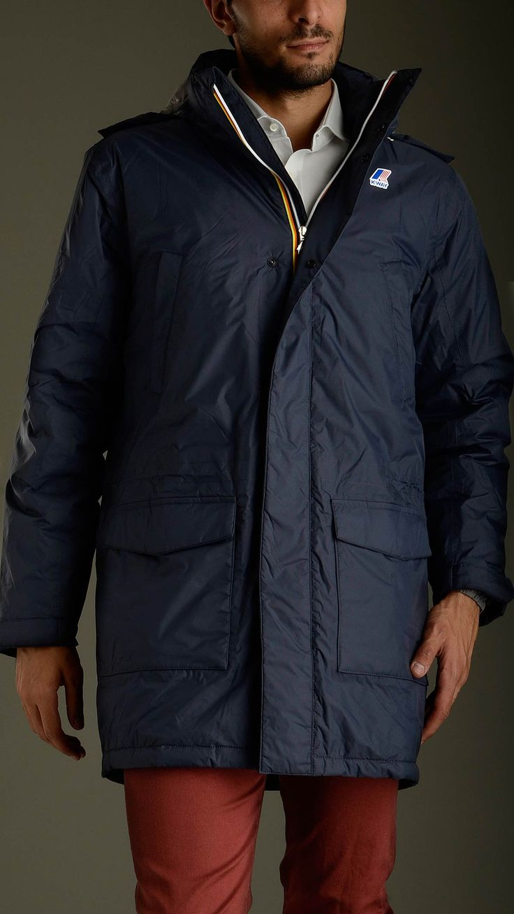 K-way Edmond thermo plus blue down jacket featuring long sleeves, adjustable eupallettes shoulder, six pockets at front and an inner chest pocket, zip fastening featuring double puller, hidden hood, elasticized waist, waterproof, unbreathable, windbreaker.