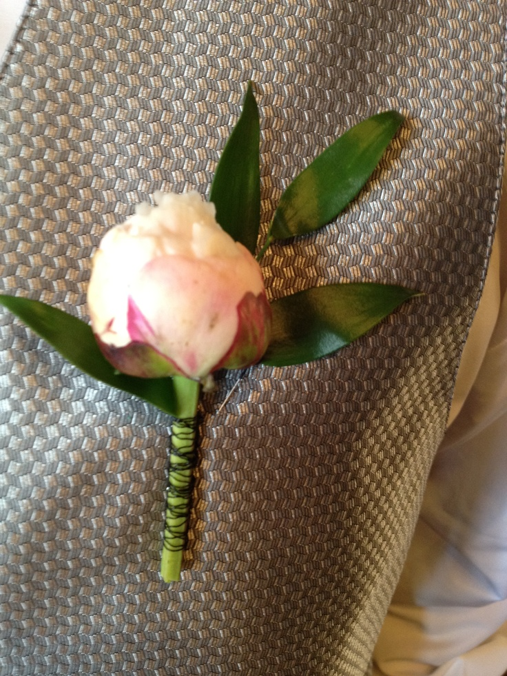 Soft Pink Peony Groom's Boutonniere by Blume Events www.idoaz.com