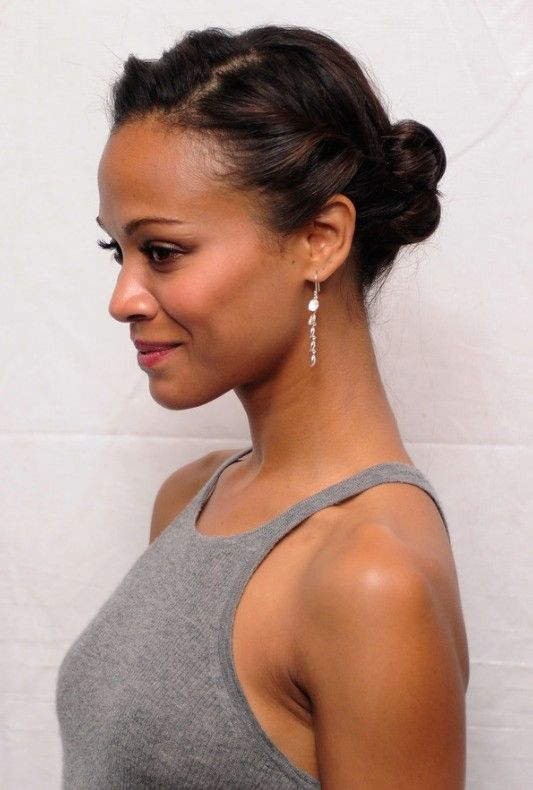 Cute+Medium+Short+updo's | African American Daily Hairstyles : Zoe Saldana Cute Casual Updo for ...