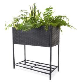 Raised Wicker Planter - Black