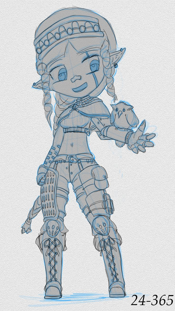 """Day 24. Went with a Warframe """"Noggle"""" proportions. Was inspired by a friend's chibi artwork on the Discord server I'm a part of.   Slowly changed her design, but this seems more or less to be the final (outfit) design. Some refinements to make, but this is about as far as it goes.   Gave her a bird as a Familiar compared to the Fawn in the initial sketches. Might study that in the future."""
