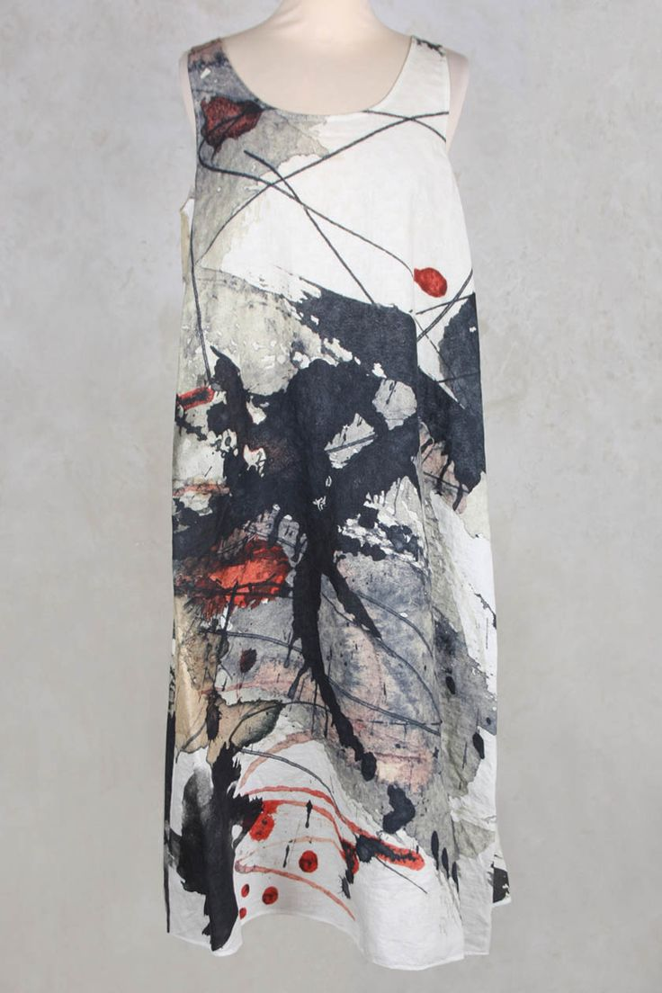 Long Shift Style Dress in Watercolour Print - Crea Concept