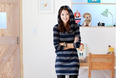 stripes shirt dress with capuchon, see more on thehallyu.com