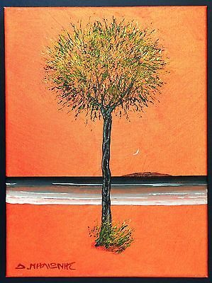 Dimitris C. Milionis - Tree  Golden Sky - Small Acrylic Painting Signed Greek