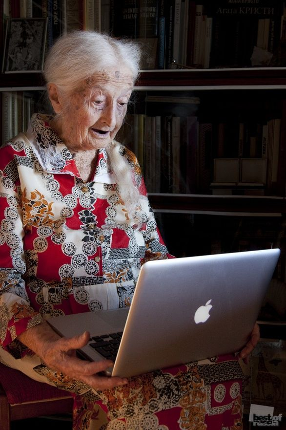 who says you are ever to old to learn something new or show interest, she's rockin that long beautiful pony tail and an apple lap top... U GO Girl!!