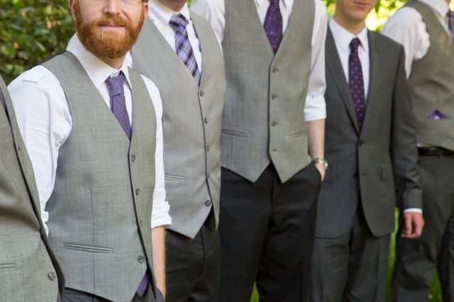 LIKE THE DARK PANTS & LIGHT VESTS WITH MISMATCHED TIES BUT IN BLUE groomsmen in a mix of purple ties and grey vests / photo: emilykatharine.com