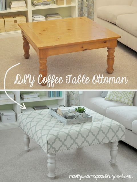 Brakely.Com: DIY Coffee Table To Ottoman Makeover