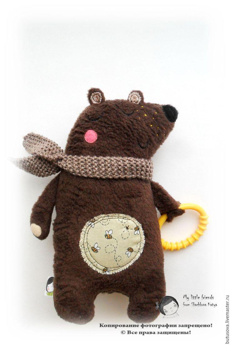 Купить Медвежонок-храпунька с грызунком. Игрушка для малышей. - коричневый, мишка, медведь, медвежонок, мишутка, миша
