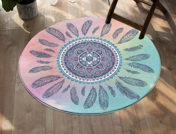 Mandala Round Carpet Kids Room Bohemian Feathers Area Rugs Mat Pink And Blue Tapete For Living Room Alfombra 100cm Round Carpets Textured Carpet Patterned Carpet