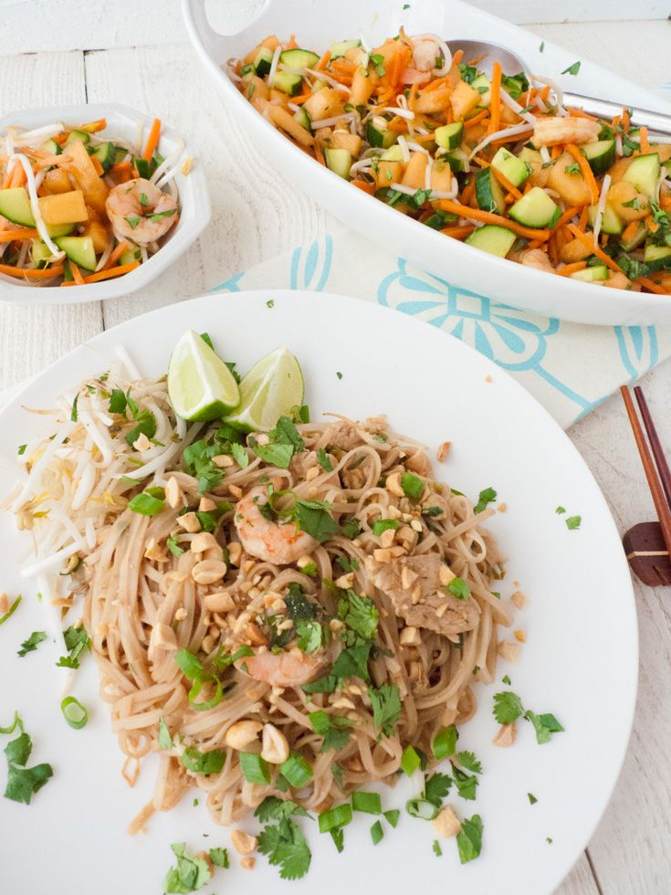 Low-FODMAP Pad Thai and               Cantaloupe-Shrimp Salad Share the love...Pin It! Pad thai is not only easy to make low-FODMAP, but it's easier to make at home than you might think. Once you get the hang of it, you'll prefer your homemade version over takeout - no more greasy noodle