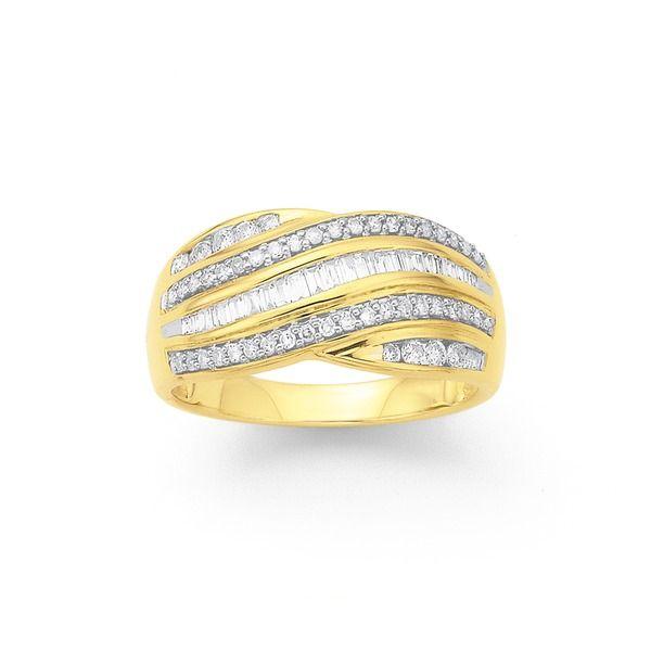 9ct, Diamond Ring Total Diamond Weight=.50ct