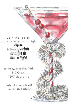 christmas cocktail party invitation with tinsel - Christmas Cocktail Party Invitations