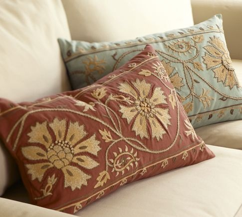 Lumbar pillows. These look both comfy and pretty!