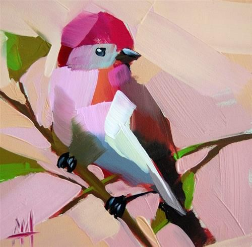 """Rose Finch no. 17  Painting"" - Original Fine Art for Sale - © Angela Moulton"