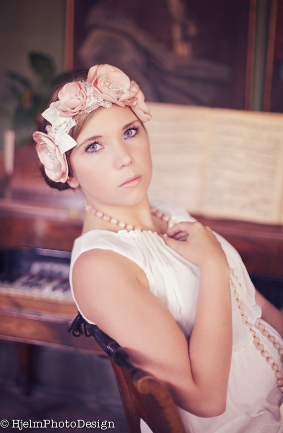 My blushing Chloé headband and hair comb - Romantic bridal hair pieces with flowers, lace and pearls, $160